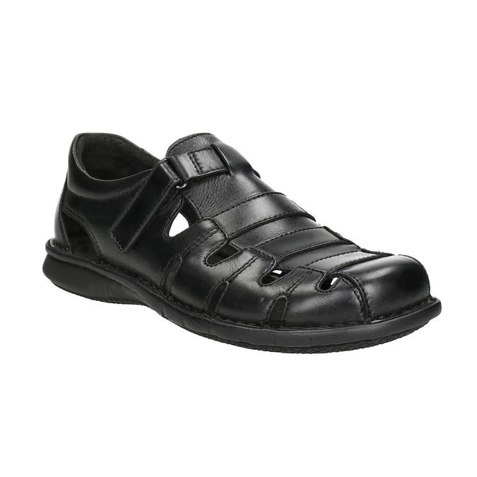 Pánske čierne kožené sandále bata, čierna, 864-6600 - 13