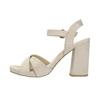 Dámske sandále na masívnom podpätku bata, béžová, 769-8602 - 26