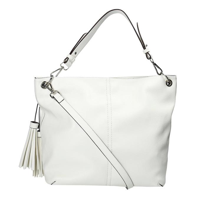 Biela kabelka so strapcami bata, biela, 961-1703 - 26