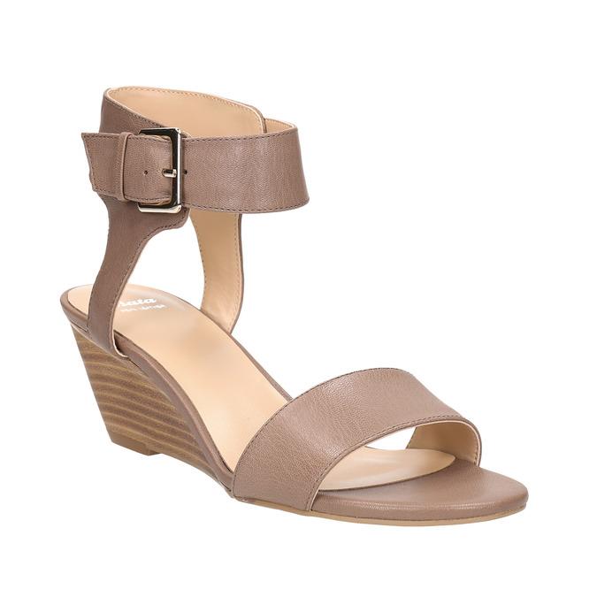 Kožené sandále na kline bata, hnedá, 666-4607 - 13