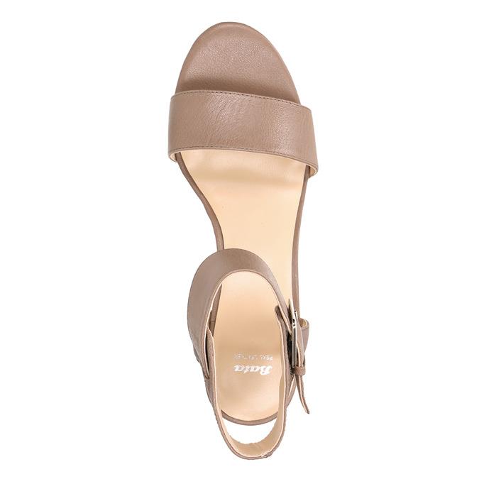 Kožené sandále na kline bata, hnedá, 666-4607 - 26