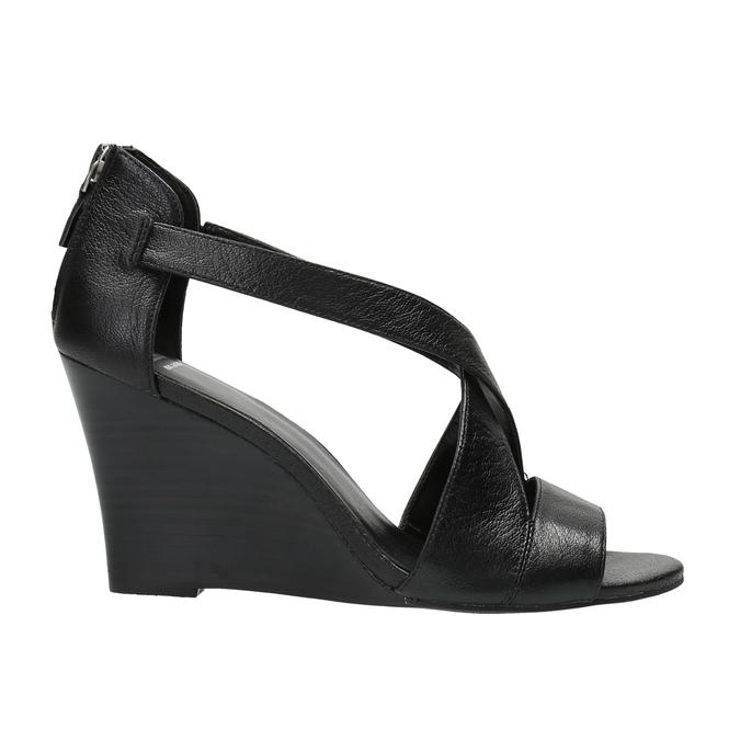 Čierne kožené sandále bata, čierna, 766-6601 - 15
