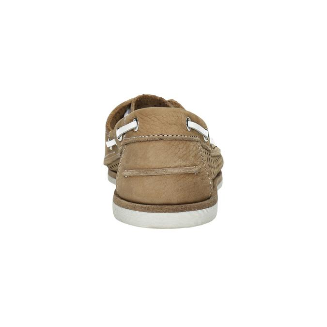 Kožené mokasíny s perforáciou bata, hnedá, 526-4631 - 17