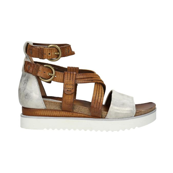 Kožené sandále na flatforme bata, hnedá, 666-1605 - 15