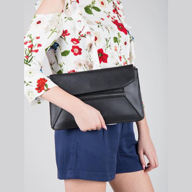 Čierna kožená listová kabelka bata, čierna, 964-6219 - 19