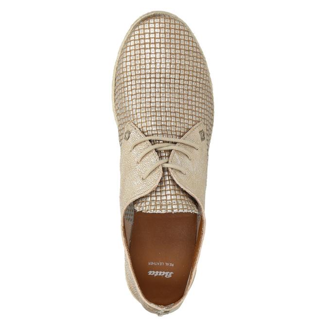 Dámske kožené poltopánky bata, béžová, 526-8629 - 26