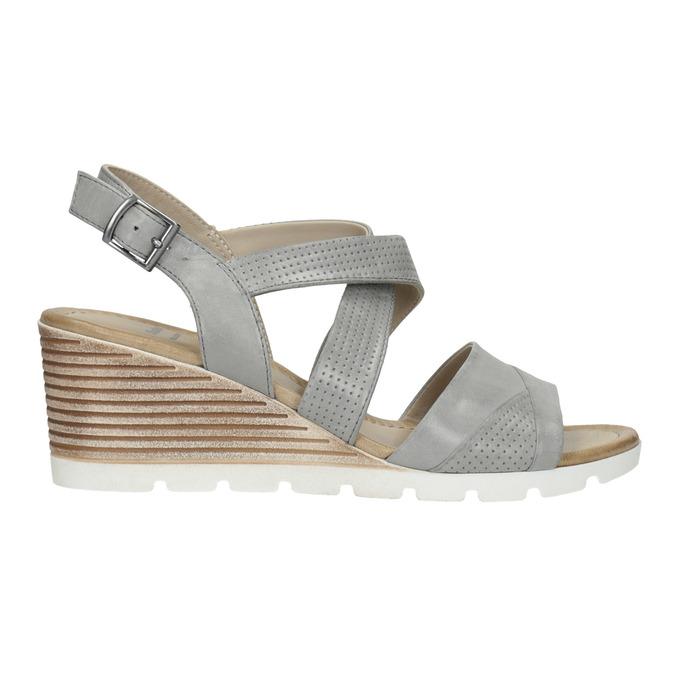Kožené sandále na kline s perforáciou bata, šedá, 666-2606 - 15