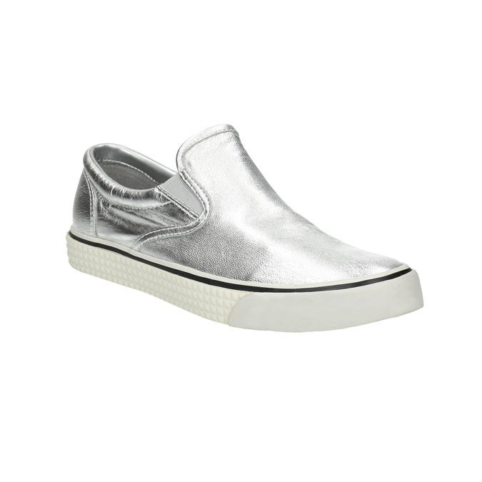 Kožená strieborná Slip-on obuv diesel, strieborná, 504-1437 - 13