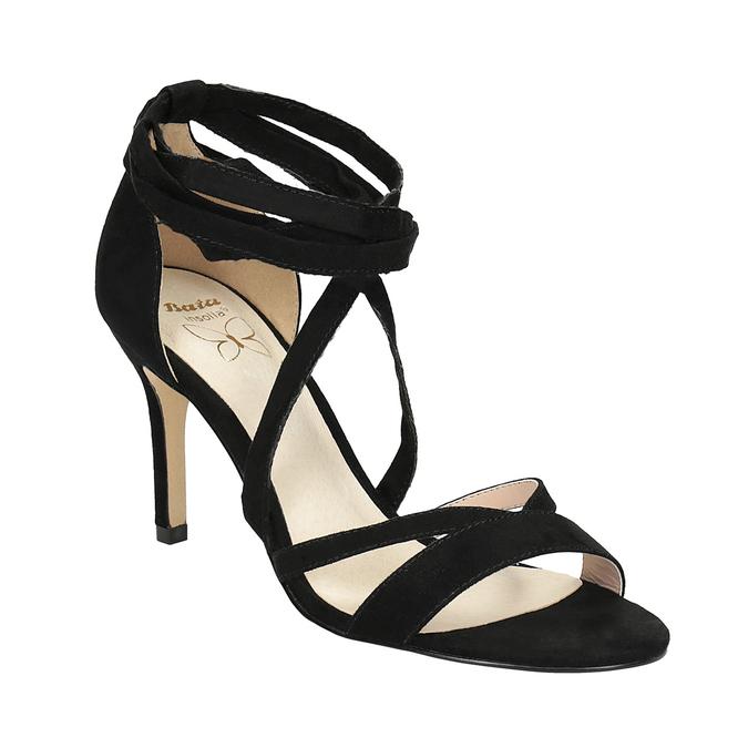 Dámske šnurovacie sandále na podpätku insolia, čierna, 769-6613 - 13