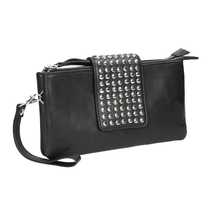 Kožená listová kabelka s dvomi vreckami bata, čierna, 964-6226 - 13