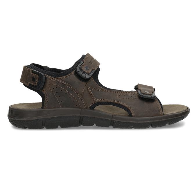 Pánske hnedé kožené sandále na suchý zips weinbrenner, 866-4631 - 19