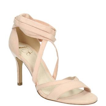 Šnurovacie sandále na podpätku insolia, ružová, 769-5613 - 13