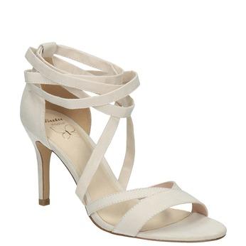 Šnurovacie sandále na podpätku insolia, biela, 769-1613 - 13
