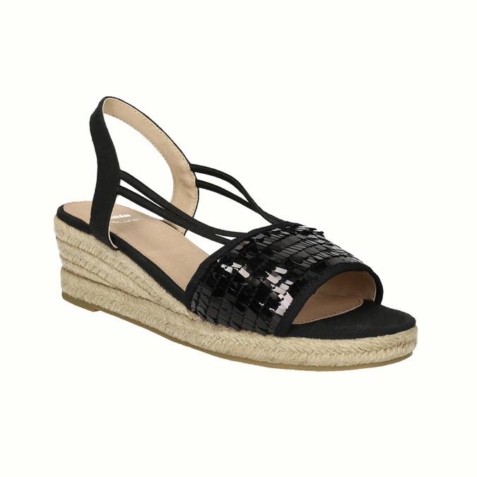 Dámske sandále na prírodnej platforme bata, čierna, 661-6608 - 13