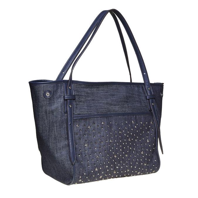 Dámska kabelka s cvočkami bata, modrá, 969-9264 - 13