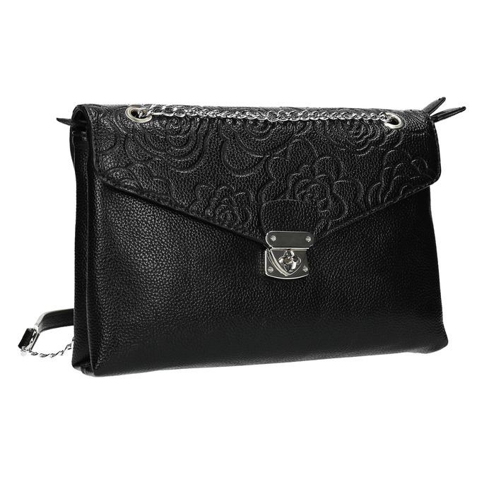 Menšia čierna kabelka s klopou bata, čierna, 961-6731 - 13