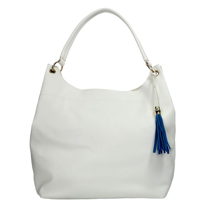 Biela kabelka s modrým strapcom bata, biela, 961-1688 - 26