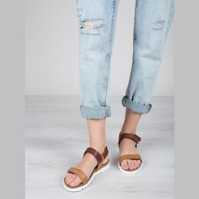 Dámske kožené sandále weinbrenner, hnedá, 566-4630 - 18