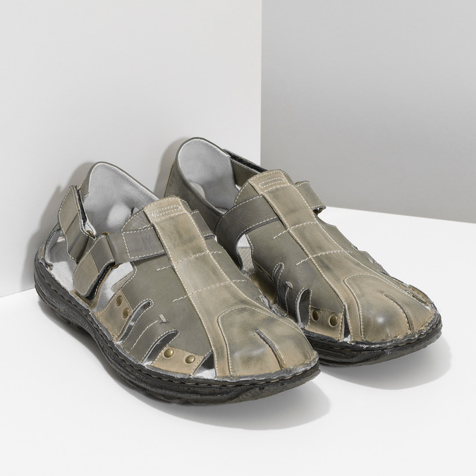 Pánske hnedé kožené sandále bata, hnedá, 866-2622 - 26