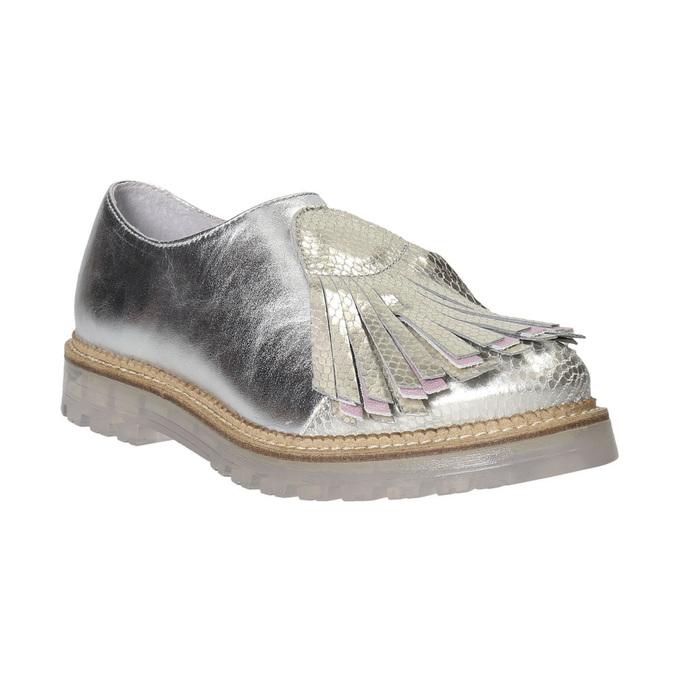 Dámske strieborné kožené poltopánky bata, strieborná, 536-1600 - 16