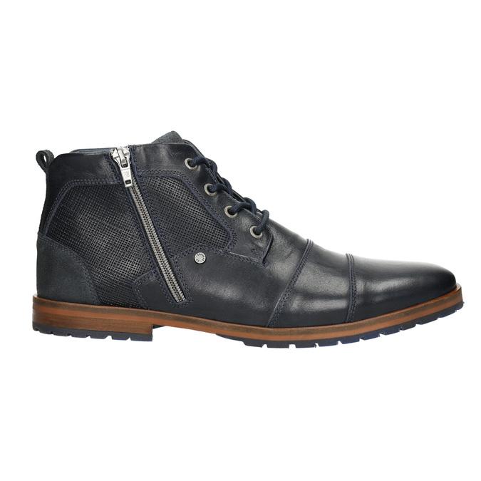 Kožená členková obuv so zipsom bata, modrá, 826-9911 - 15