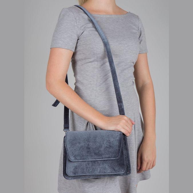 Dámska zamatová kabelka bata, šedá, 969-2662 - 17
