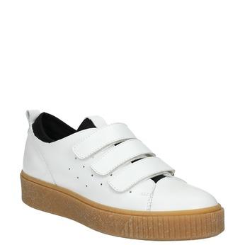 Kožené dámske tenisky na suchý zips bata, biela, 526-1646 - 13