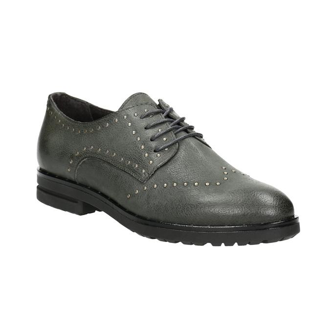 Kožené poltopánky s kovovými cvokmi bata, šedá, 526-9643 - 13