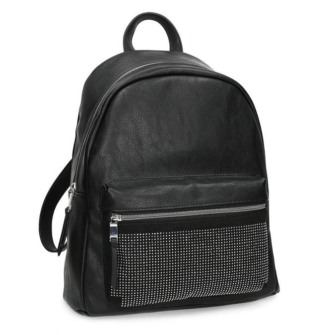 Čierny dámsky batoh s kamienkami bata, čierna, 961-6855 - 13