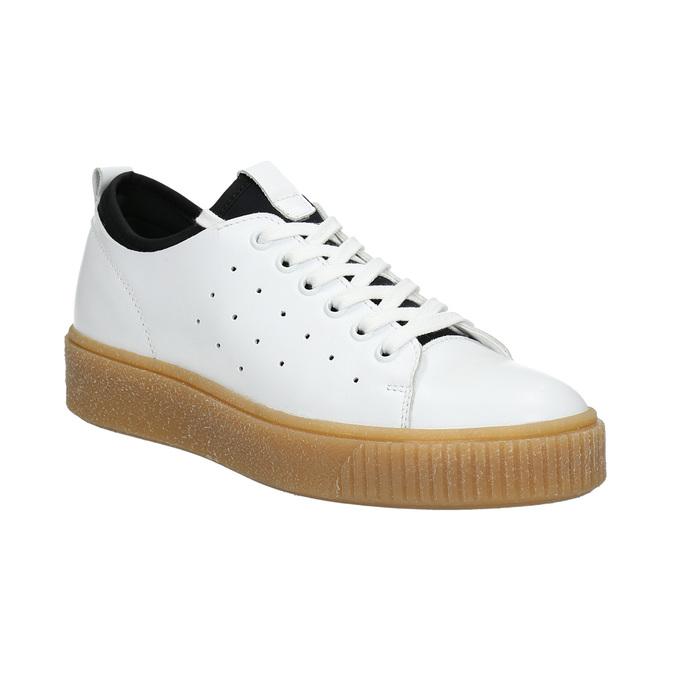 Dámske kožené tenisky na flatforme bata, biela, 526-1645 - 13