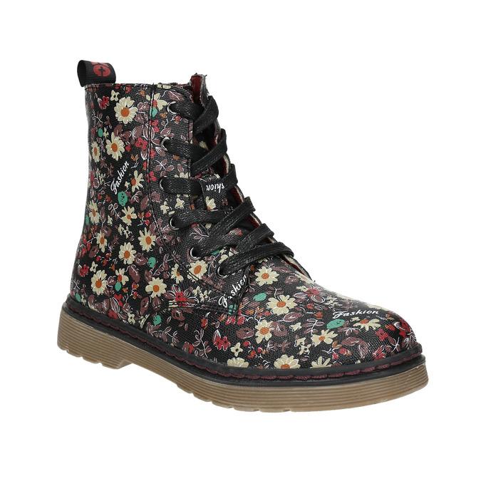 Dievčenská obuv s kvetovaným vzorom bata-girl, čierna, 321-6609 - 13