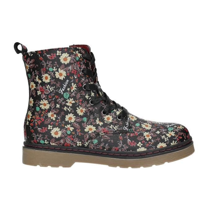 Dievčenská obuv s kvetovaným vzorom bata-girl, čierna, 321-6609 - 15