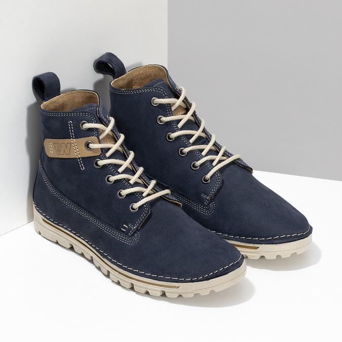 Kožená kotnikova obuv na šněrování weinbrenner, modrá, 594-9323 - 26