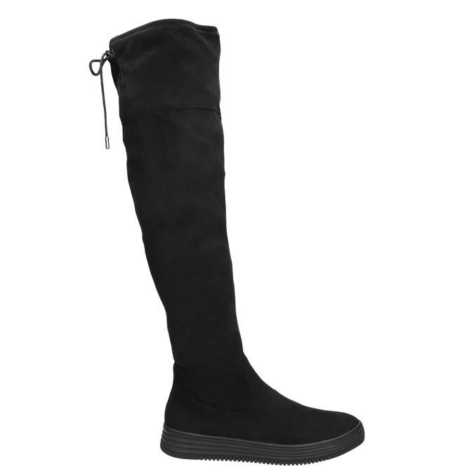 Dámske čierne čižmy nad kolená bata, čierna, 699-6634 - 15
