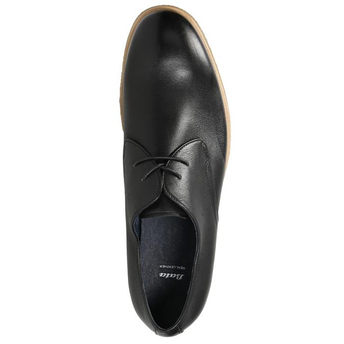 Kožené poltopánky s ležérnou podrážkou bata, čierna, 824-6412 - 26
