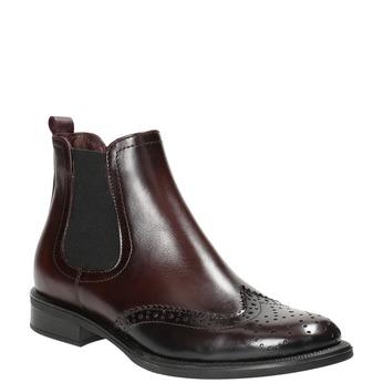 Kožená obuv v štýle Chelsea bata, červená, 594-5638 - 13