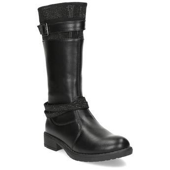 Čierne dievčenské čižmy mini-b, čierna, 391-6655 - 13