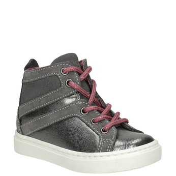 Kožená detská členková obuv bubblegummers, šedá, 123-2602 - 13