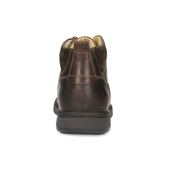 Pánska kožená členková obuv s prešitím bata, hnedá, 846-4645 - 15