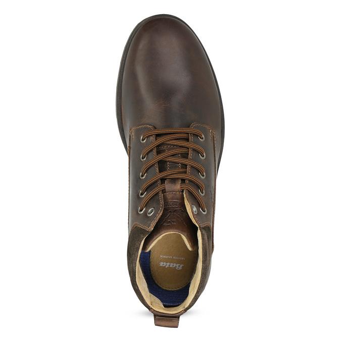 Pánska kožená členková obuv s prešitím bata, hnedá, 846-4645 - 17
