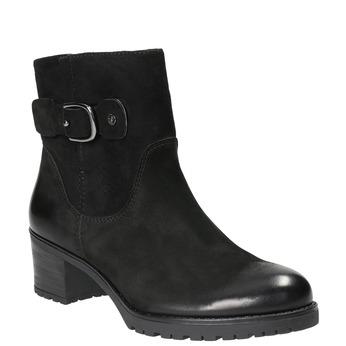 Kožené členkové čižmy s prackou bata, čierna, 696-6621 - 13
