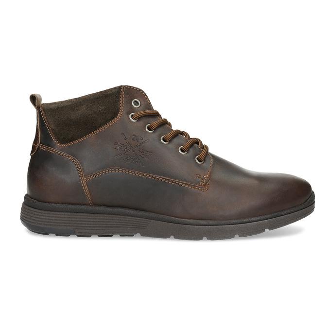 Pánska kožená členková obuv s prešitím bata, hnedá, 846-4645 - 19