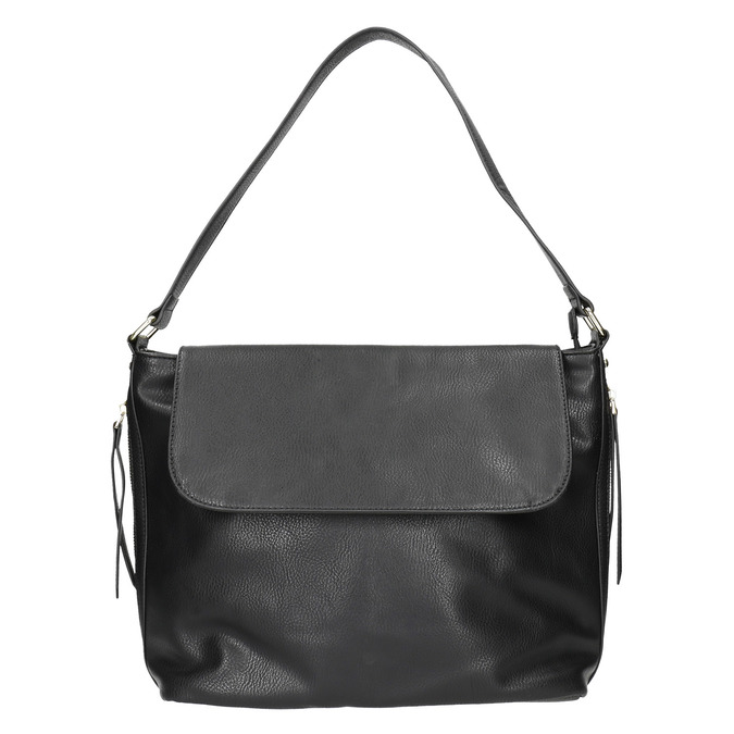Čierna kabelka s klopou bata, čierna, 961-6751 - 17