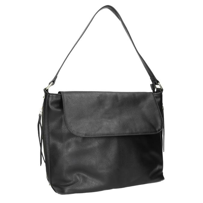 Čierna kabelka s klopou bata, čierna, 961-6751 - 13
