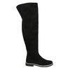 Čižmy nad kolená z brúsenej kože bata, čierna, 593-6605 - 15