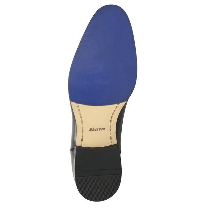 Kožené poltopánky s modrým prešitím bata, čierna, 826-6915 - 19