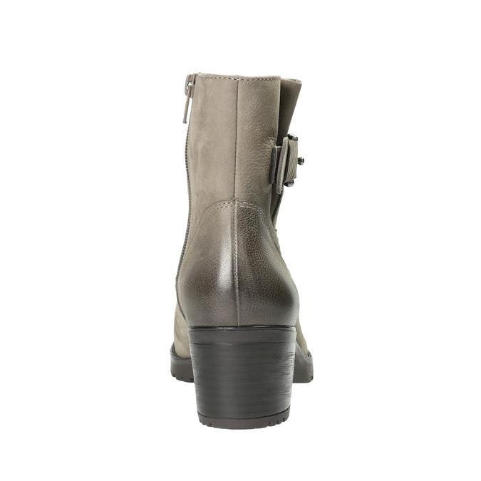 Kožené členkové čižmy s prackou bata, šedá, 696-2621 - 17