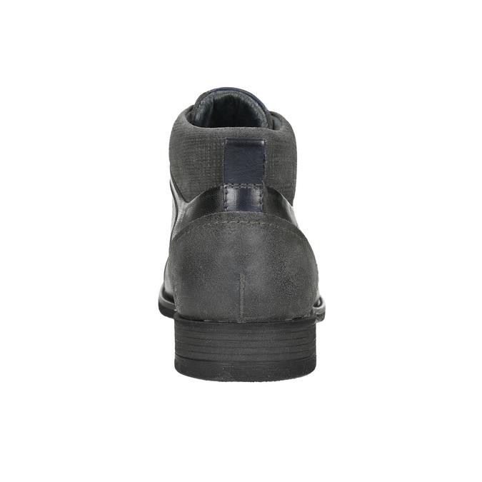 Kožená členková obuv so štruktúrou bata, šedá, 826-2616 - 17