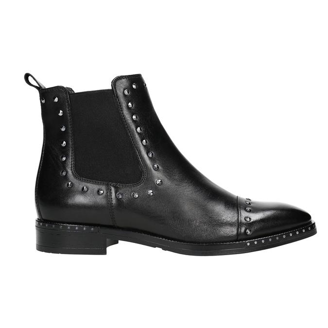 Dámske kožené Chelsea s cvokmi bata, čierna, 596-6679 - 15