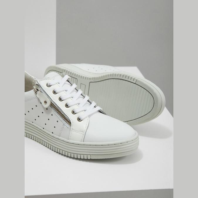Kožené dámske tenisky so zipsom bata, biela, 526-2630 - 14